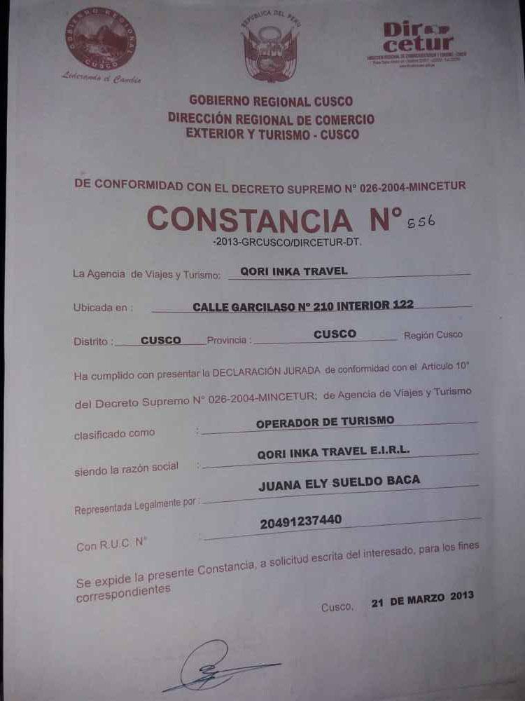 constancia qori inka travel